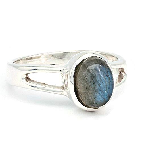 Ring Silber 925 Sterlingsilber Labradorit Stein (Nr: MRI 180), Ringgröße:56 mm/Ø 17.8 mm