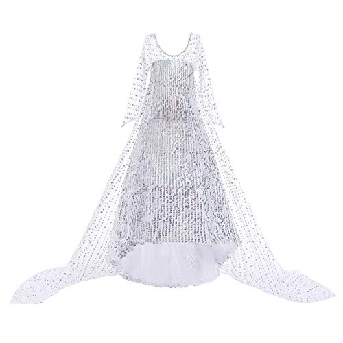 O.AMBW Elsa Kostüm Mädchen Prinzessin Rock Kostüm Schneekönigin 2 Halloween Weihnachtsgeburtstag Party Dress Up Party Rollenspiel Weiß Pailletten Cape Kleid 100-150 cm 3-9 Jahre alt Kinder Verkleidung