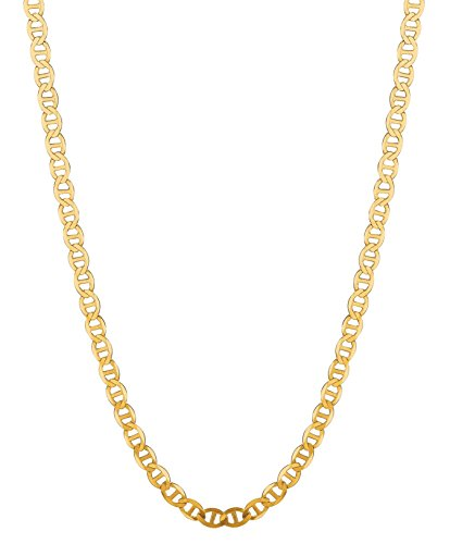 RCI 14K Solid Yellow Gold Anchor Mariner Link Chain Necklace 4.5 Mm 16'-30' (M100 (30 Inches)