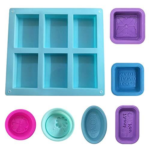 7 Stück Silikonform Seifenform für Seifenherstellung, Silikon-Formen für Seife, Backen, DIY, handgefertigt, rechteckig, quadratisch, rund, oval, aus Silikon