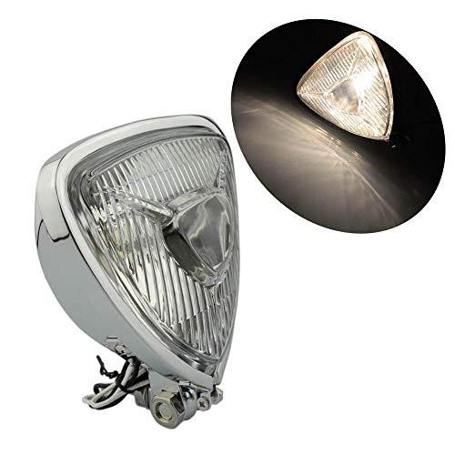 TAOYI Motorcycle Headlight Front Headlights Mini Motorcycle Vintage Triangle Headlight Aris Style Headlamp for Mini Thin Section Retro Lighthouse-Chrome-White Light
