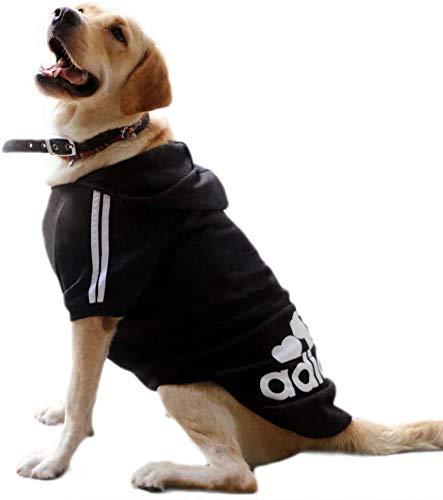 """KayMayn Hunde-Pullover mit Kapuze, Aufschrift """"Adidog"""", sportlicher Look, 7 Farben, in den Größen S bis 9XL schwarz Schwarz  6XL"""