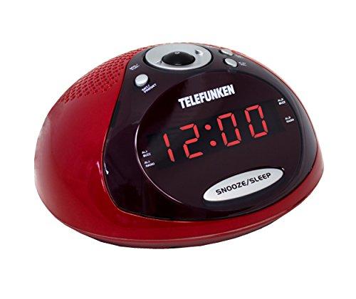 Telefunken R1005 Radiowecker (PLL-Tuner, UKW-Radio, Dual Alarm, Sleep-Timer) rot