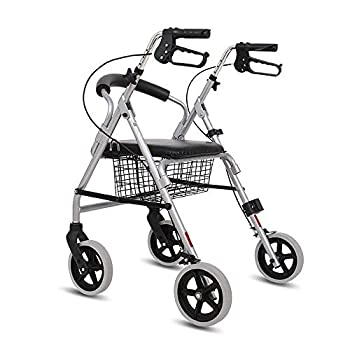 Xyl Walker with seat and Wheels Senior Man Folding Vertical Rollator Freed Adjustable armrest Height Support 500 pounds