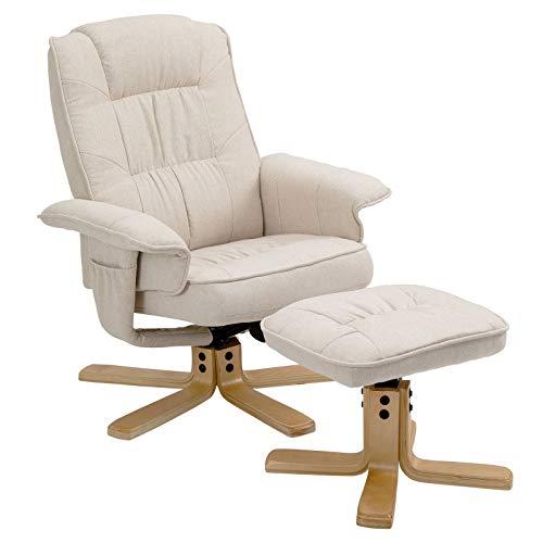 IDIMEX Relaxsessel Charly, schöner Fernsehsessel mit Hocker, bequemer Drehsessel mit verneigungsverstellbarer Rückenlehne, gepolsteter Polstersessel mit Stoffbezug in beige