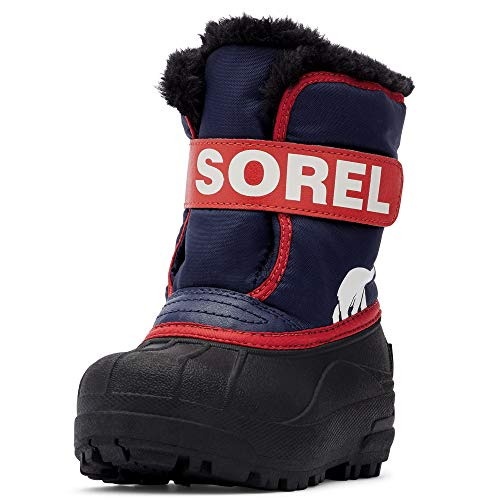 Sorel - Youth Snow Commander Snow Boots for Kids, Nocturnal/Sail Red, 7 M US