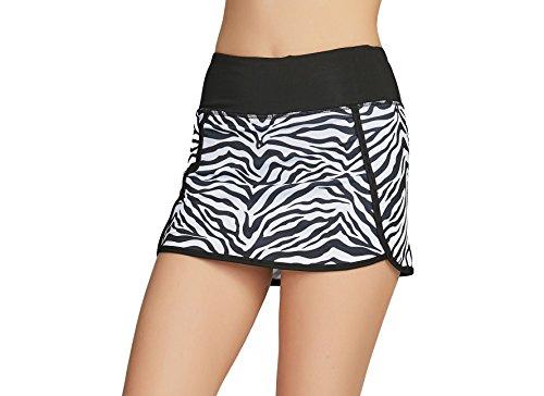 Cityoung Women's Athletic Gym Tennis Skirt with Shorts Running Skort (M,Zebra Stripe)