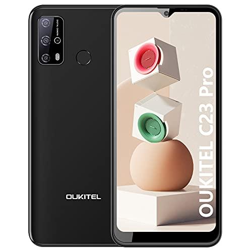 OUKITEL C23 Pro Smartphone (2021) 5000mAh Batteria 4GB 64GB Telefono Tellulare bis zu 256GB erweiterbar Octa-core 6.53  HD +, Dual Sim,Android 10, OTG, Face ID, Type-c, Oukitel Cellulare (Nero)