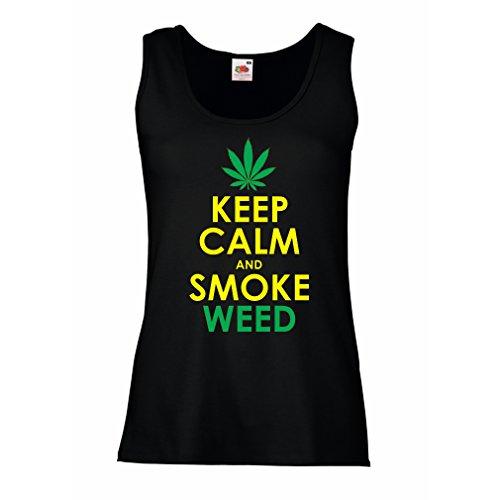 lepni.me Camisetas sin Mangas para Mujer Mantener la Calma y Humo - Hoja de Marihuana (Large Negro Amarillo)