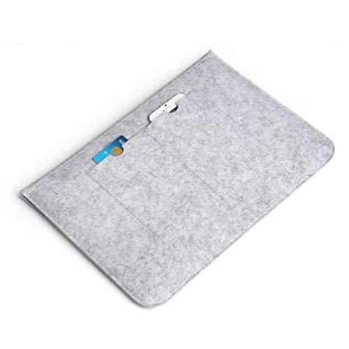 TOYANDONA Felt Laptop Sleeve Case Compatible for Macbook Notebook 13.3inch Tablet Evecase Waterproof Shock Resistant Bag Case with Accessory Pocket Light Grey