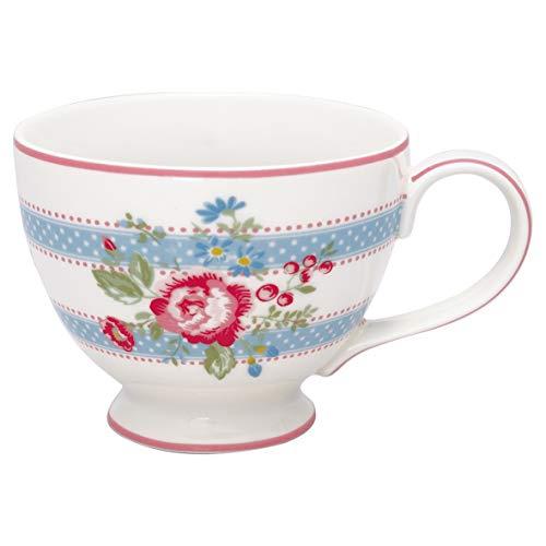 GreenGate Teetasse Evie Weiss Blumen Punkte Porzellan Tasse mit Henkel 400 ml