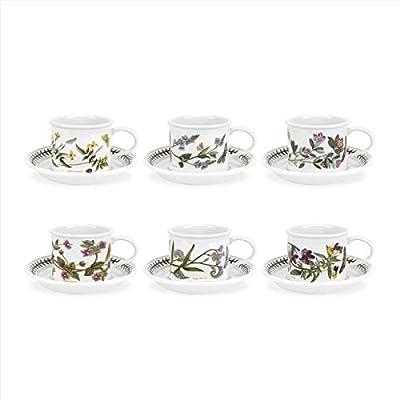 Portmeirion Botanic Garden Drum Shaped Tea Cup and Saucer, Set of 6 Assorted Motifs