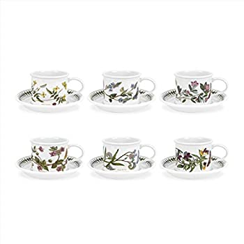 Portmeirion Botanic Garden Collection Drum Shaped Tea Cup and Saucer -  6  Assorted Motifs - Dishwasher Microwave Oven and Freezer Safe - Made in England