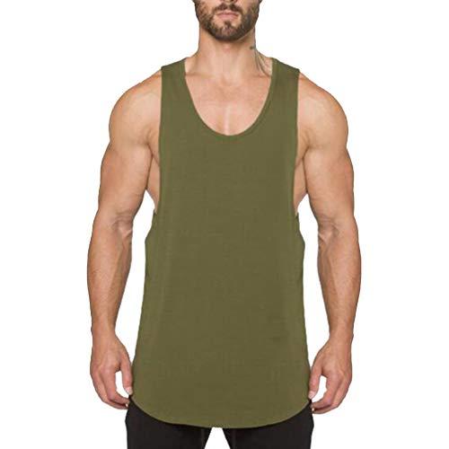 WEIMEITE Gym Kleidung Bodybuilding Tank Top Herren Fitness Singlet Ärmelloses Shirt Baumwolle Muscle Guys Unterhemd für Boy Weste Grün 2XL