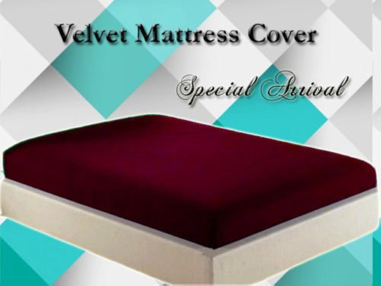 Healthybusiness1 Luxurious Velvet Mattress Cover Predector 1 pc with Zipper Closure Gift Home Decor, Maroon, Twin XL, 18  Height Mattress