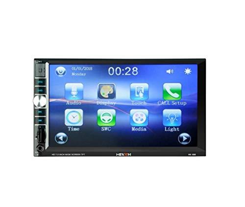 LWTOP Stéréo de Voiture Double DIN, 7 Pouces écran Tactile dans Dash Voiture récepteur Radio Audio Lecteur vidéo Prend en Charge Bluetooth/TF/USB/AUX/avec caméra de recul,HE666withoutCamera