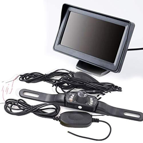 GOFORJUMP Moniteur de recul de 4,3 Pouces avec écran Couleur LCD TFT LCD, avec caméra de recul de Marque 7LED Longue avec émetteur sans Fil
