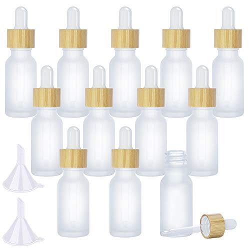 12 Stück 20ml Mattiert Glas Tropf Flaschen, Ätherische Öl Flaschen mit Augentropfen und Bambus Deckel und 2 Stücke Trichter für ätherische Öle, Duftöl Probe, Essenz Flüssigkeit Kosmetik