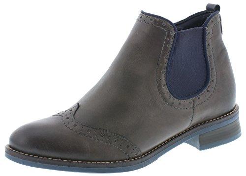 Remonte Damen Chelsea Boots D8581,Frauen Stiefel,Halbstiefel,Stiefelette,Bootie,Schlupfstiefel,flach,Blockabsatz 3.3cm,Einlegesohle,Graphit/Ozean / 45,EU 41