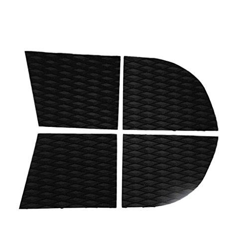 Gazechimp 4x Cojín de Tracción de Cola para Perro Deck Grip Tabla de Surf - Negro