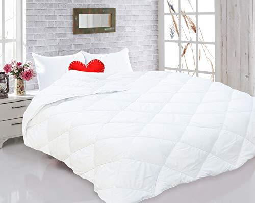 Style Heim Bettdecke 135x200 cm Microfaser Decke Steppdecke 1630g Füllung Schlafdecke Ganzjahresdecke Jahreszeiten Sommer Winter Oeko-Tex Zertifiziert, Weiß