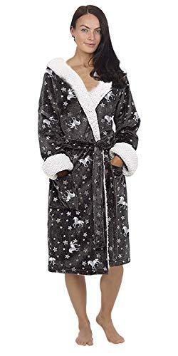 CityComfort Vestido de lujo de las señoras traje súper suave con forro de piel albornoz felpa albornoz para mujeres-regalo perfecto (L, estrella de plata de impresión)