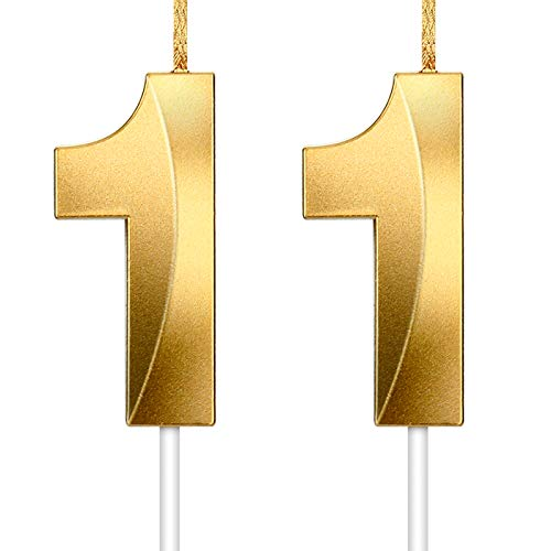 HICARER 2 Candela Numero Oro Glitter Candele di Torta Compleanno Decorazione per Topper Torta di Compleanno per Laurea Celebrazione Anniversario Matrimonio (Numero 11)