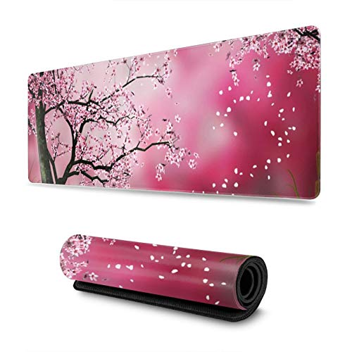 Pink Abstract Japanese Cherry Blossom Gaming Mouse Pad XL, Non-Slip Rubber Base Mousepad, Stitched Edges Desk Pad, Extended Large Mice Pad,31.5×11.8 Inch