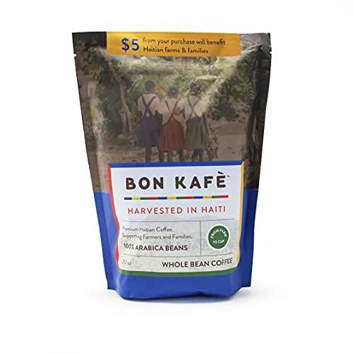 Bon Kafe - Premium Fair Trade Haitian Coffee, Medium Roast, Whole Arabica Beans, 20 Ounce