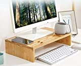 Monitor Riser Stand Bamboo wood Desk & Tabletop Organizer Monitor Mount Computer Laptop