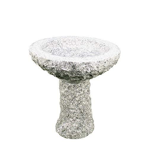 Gebrüder Lomprich Vogelbad aus Granit mit Fuß (Ohne Steinvogel am Rand sitzend)