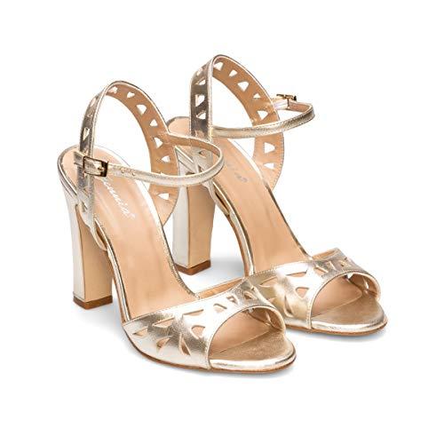 Niagara - Sandalias Doradas de Mujer para Vestir de Piel con Calados - Cierre con Hebilla - Tacon Ancho Alto 10 cm - Moda Tendencia Elegantes Fiesta Boda Gala - Metalizada Oro Platino - Gold 37 EU