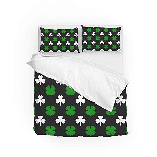 161 Soft Quilt Bedding Set Green White Clover Duvet Cover with 2 Pillowcases Set 3 Pieces 230 x 220 CM, King