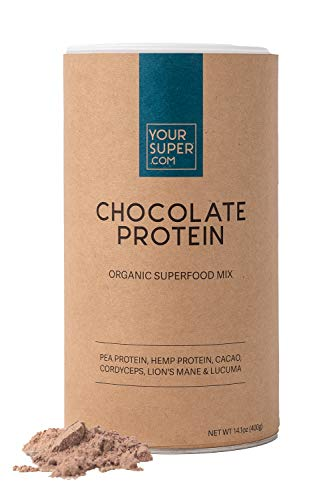 Your Super Chocolate Protein Superfood Mix - Plant Based Protein Powder for Athletic Performance and Workout Recovery, Mental Performance, Organic Lion's Mane Mushroom - 14.1 Ounces, 26 Servings