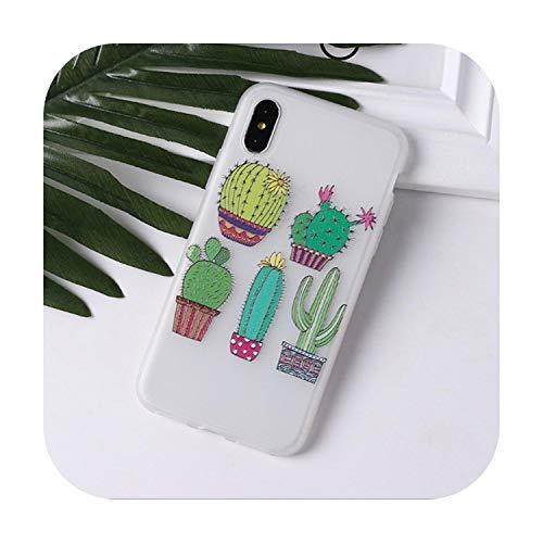Funda de teléfono para iPhone 11 Pro X Xs Max Xr 7 8 6 S 6S Plus Se 5 5S Diseño Cubierta protectora Chica Moda Cactus Patrón A Para Iphone 5E