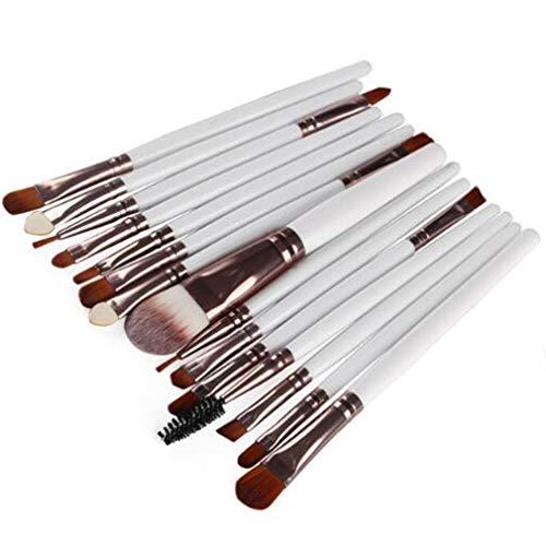 MOONRING 15 PCS Brosses de maquillage pour les yeux Correcteurs à double extrémité Mélange d'ombres à paupières Mélange de pinceaux à sourcils, tube de café blanc