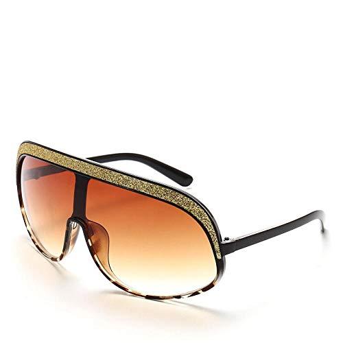 Grneric Women Flat Top Square Sequin Brand Design Oversized Sunglasses Goggle Blackleopardbrown