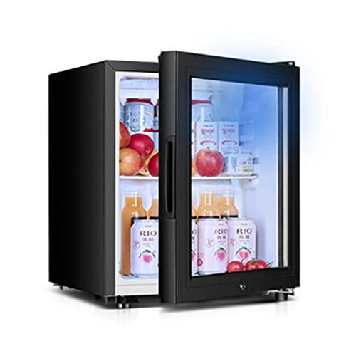 Enfriador de bebidas y refrigerador con puerta de vidrio, mini refrigerador de 30 latas para bebidas, estantes ajustables Dispensador de mostrador Refrigerador Sótanos,Glass door