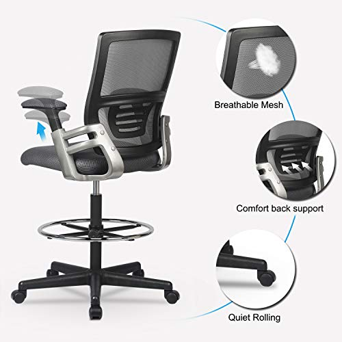 Mid-Back Mesh Drafting Chair Tall Office Chair Swivel Rolling Executive Chair for Adjustable Standing Desks with Lumbar Support, Adjustable Armrest & Foot Ring (Grey) chair gaming gray