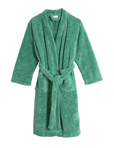TowelSelections Big Boys' Robe, Kids Plush Kimono Fleece Bathrobe Size 12 Winter Green