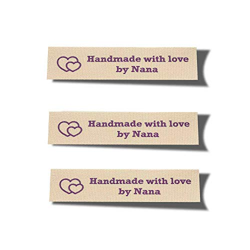 Wunderlabel Handmade with Love by Nana Granny Heart Symbol Craft Ribbon Ribbons Cotton Woven Tag for Clothing Sewing Sew on Clothes Garment Fabric Embroidered Label Tags, Purple on Cream, 25 Labels