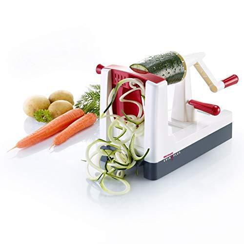 Westmark Gemüse-Spiralschneider mit 1 Schneideinsatz für 4 Spiralvarianten, Schneidstärke verstellbar, Rostfreier Edelstahl/Kunststoff, Spiro Plus, Weiß/Dunkelgrau/Rot, 97132260