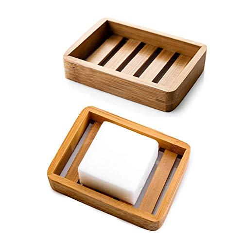 Kaxich 2 Stück Seifenschale Natürlicher Bambus Holz Seifenhalter Seifenkiste Seifenhalterung für Badezimmer Dusche Küche Waschbecken