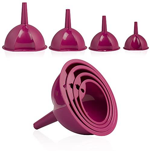 Hausfelder Juego de 4 embudos de cocina grandes y pequeños (4 piezas), color rojo