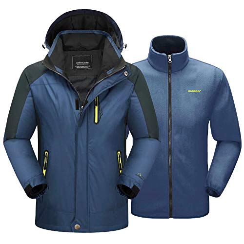 MAGCOMSEN Winter Coats for Men with Detachable Hood 3 in 1 Jacket Waterproof Snow Jacket Ski Jacket Outdoor Sports Jacket Fleece Jacket Denim Blue