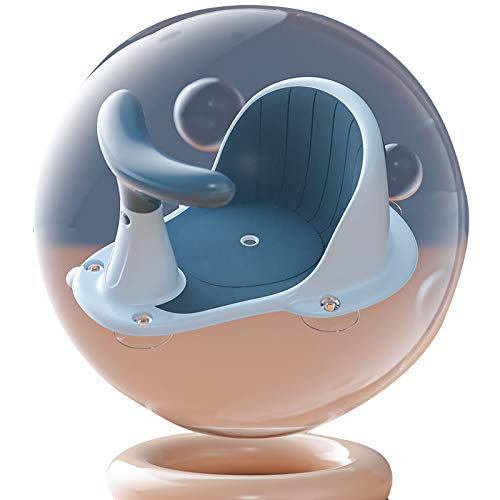 ONEP Asiento de baño para bebé, potente ventosa antideslizante, asiento de ducha, asiento de seguridad portátil con mango separado para bebés de 6 a 18 meses (azul)