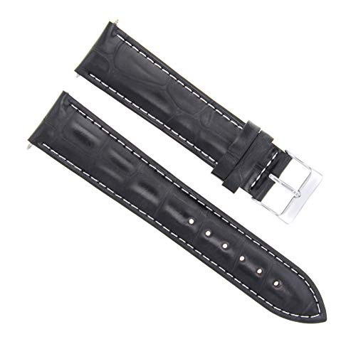 22mm Leather Watch Strap Band Compatible with Ronde Solo De Cartier XL Auto Watch Black Ws