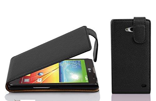Cadorabo Hülle für LG L90 - Hülle in Oxid SCHWARZ – Handyhülle aus Strukturiertem Kunstleder im Flip Design - Hülle Cover Schutzhülle Etui Tasche