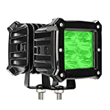 Green Led Pods Light Bar - 3.4 Inch 40W Square Work Driving Hunting Fishing 12V/24V Fog Cube Light Waterproof Spot Beam for Truck Pick-up Boat Off-road ATV UTV Golf Cart Trailer 4X4 4WD (Pack of 2)