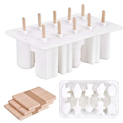 Eis Lolly Maker 10 Stück Popsicle Formen Homemade DIY Eis Frozen Joghurt Milch Bar Maker Ice Cream Moulds (Weiß(10-förmig))